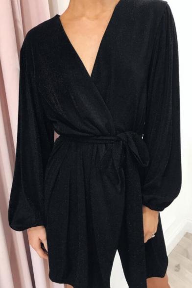 Womens Hot Fashion Simple Plain Surplice V-Neck Long Sleeve Bow-Tied Waist Mini Silk Wrap Dress
