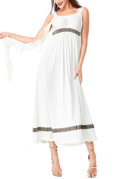 Womens New Fancy Cosplay Greek Goddess Ruffled Ribbon White Maxi Cami Dress