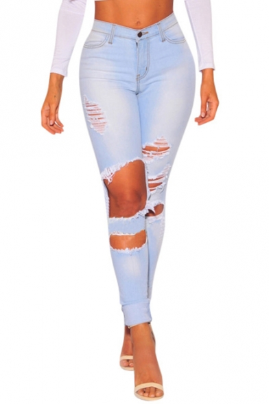 Womens New Fashion Destroyed Ripped Big Hole Stretch Super Skinny Fit Light Blue Jeans