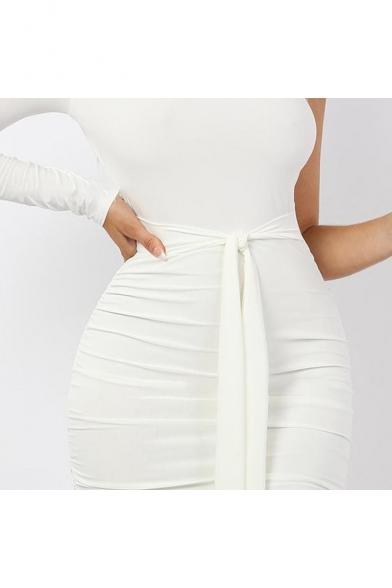 Womens Sexy One Shoulder Long Sleeve Plain Print Bow-Tied Waist White Midi Bodycon Dress