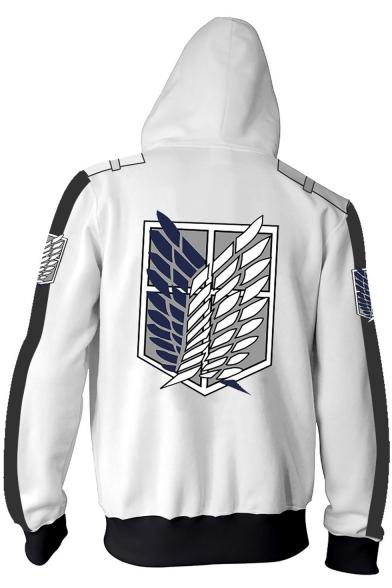 Cool Logo Printed Long Sleeve Color Block Zipper Drawstring Hoodie