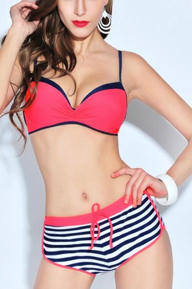 Colorblocked Spaghetti Straps Sleeveless with Striped Print Drawstring Waist Bottom Bikinis Swimwear