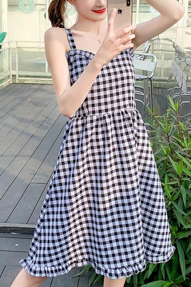 Girls Summer Trendy Plaid Printed Midi A-Line Cami Dress