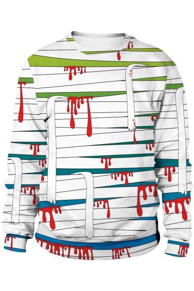 Halloween Horror Blood Printed Cosplay Basic Round Neck Long Sleeve White Sweatshirt