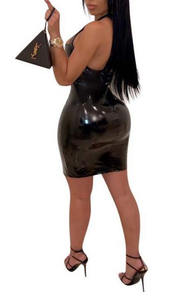 Nightclub Sexy Trendy Sleeveless Plain Pattern Backless Mini Bodycon Faux-Leather Dress For Women