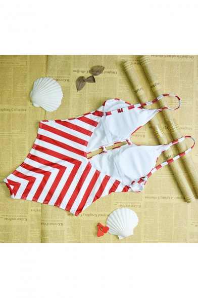 Stylish Striped Printed Plunged Neck Low Back Cut Out Front Red One Piece Swimsuit for Women