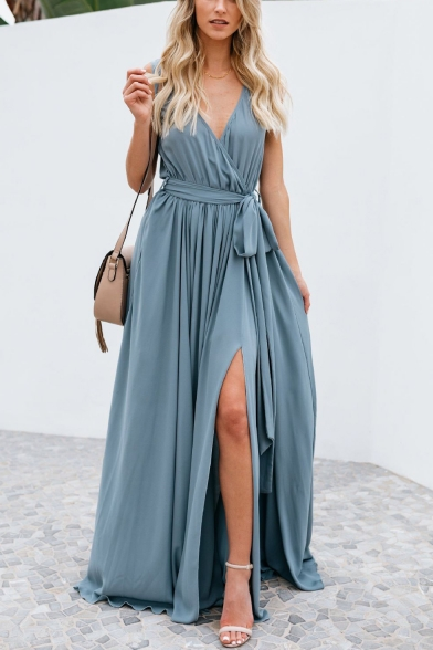 Summer Holiday Simple Solid Color V-Neck Bow-Tied Waist Split Front Maxi Beach Dress