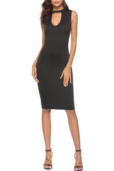 Summer Hot Fashion Plain Print Cut Out Round Neck Sleeveless Midi A-Line Black Dress