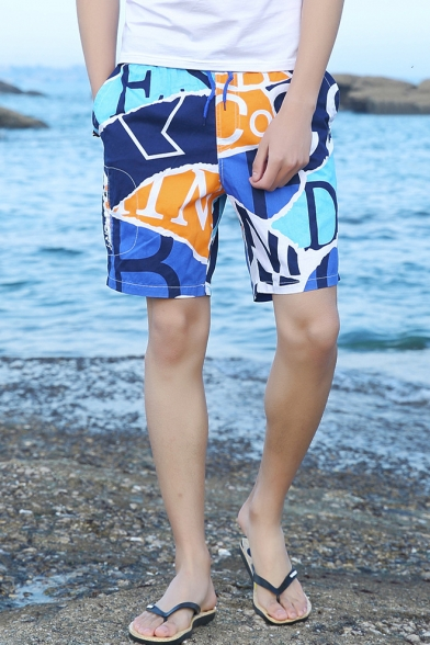 Summer New Stylish Colorblock Drawstring Waist Cotton Loose Swim Trunks for Men