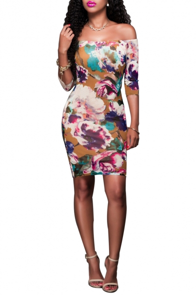 Women Sexy Floral Print Off The Shoulder Half Sleeve Mini Bodycon Purple Dress