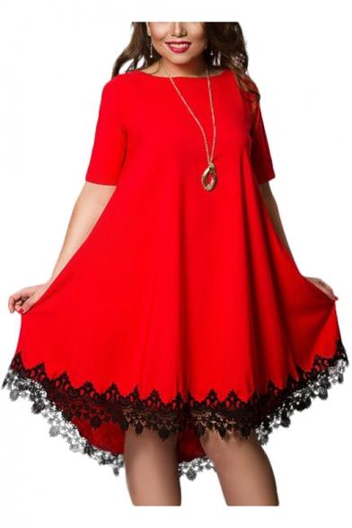 Women's Fashion Round Neck Short Sleeve Mini Lace Hem T-Shirt Swing Dress