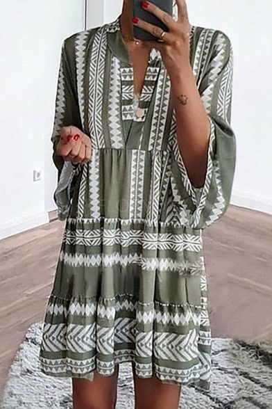 Women's Summer Geometric Printed V-Neck Long Sleeve Mini Swing Dress