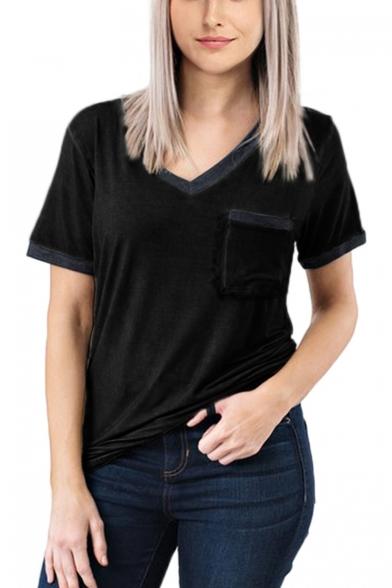 Women's Summer Solid Color V-Neck Short Sleeve Pocket Patched Chest Loose T-Shirt