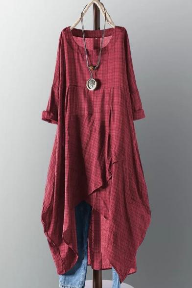 Women's Summer Trendy Plaid Printed Round Neck Long Sleeve Midi Linen Asymmetric Hem shirt Dress