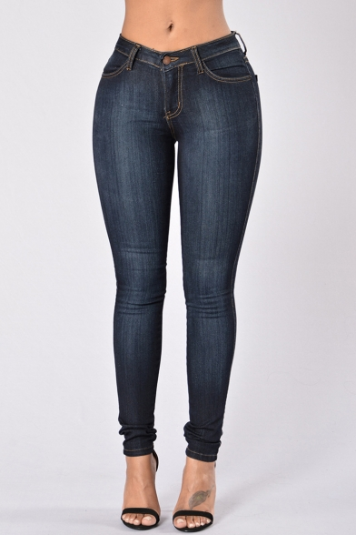 Womens Basic Simple Solid Color Faded Stretch Skinny Fit Jeans