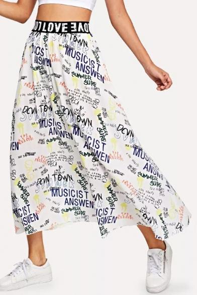 Womens Cool Street Style Letter Graffiti White Maxi A-Line Flowy Skirt