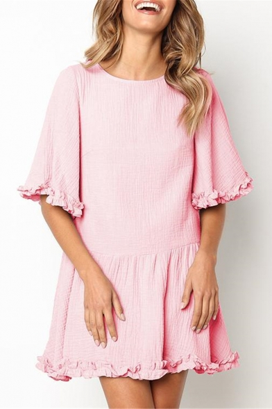 Womens Hot Fashion Solid Color Chic Ruffled Hem Round Neck Mini A-Line Dress