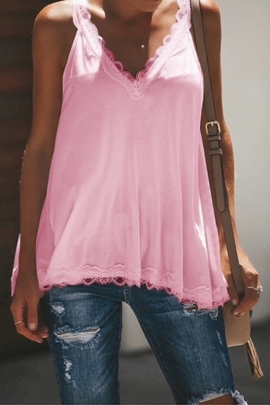 Womens New Fashion Lace-Trim Sleeveless V-Neck Solid Color Casual Loose Tank Top LM525280 фото