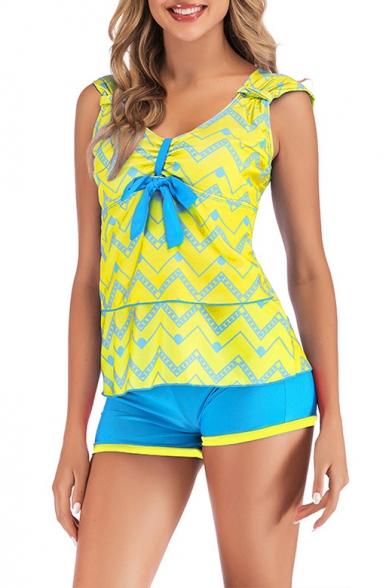 Womens New Stylish Wave Striped Printed Beach Two-Piece Tankini Swimwear