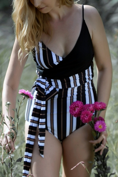 Womens New Trendy Unique Striped Printed Tied Waist One Piece Swimsuit Swimwear