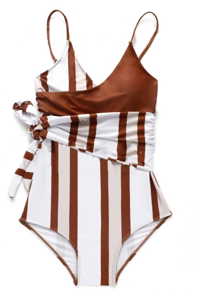 Womens New Trendy Unique Striped Printed Tied Waist One Piece Swimsuit Swimwear