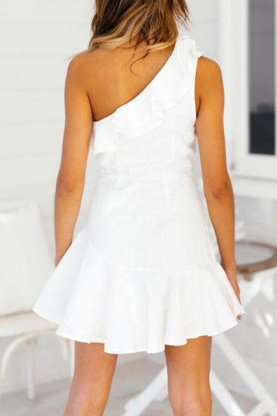 Womens Sexy One Shoulder Ruffled Hem Mini A-Line Dress