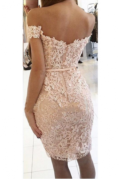 Womens Unique Off the Shoulder Water-Soluble Lace Slim Fit Midi Prom Dress