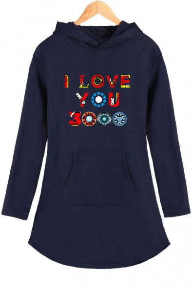 Colorful Letter I Love You 3000 Long Sleeve Shift Hooded Dress for Women