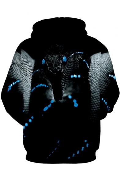 Cool Awesome Snake 3D Printed Black Casual Drawstring Hoodie