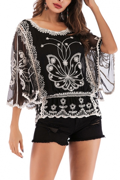 Fashion Butterfly Floral Print 3/4 Length Sleeve Round Neck Embroidered Black Lace T-Shirt