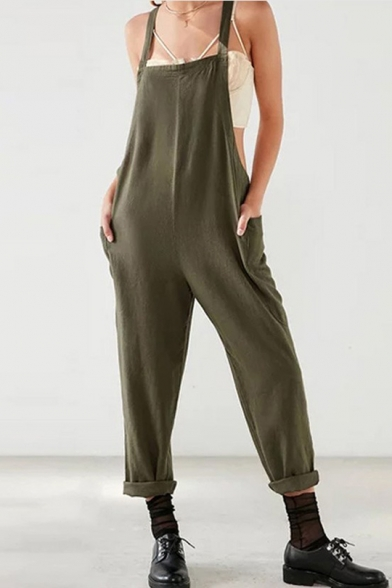 Girls Hot Fashion Plain Sleeveless Plus Size Loose Cotton Overall Jumpsuits
