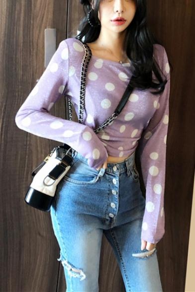 Girls New Stylish Purple Polka Dot Printed Round Neck Long Sleeve Cropped Slim Tee