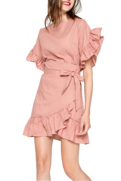 Girls Summer Sweet Ruffled Hem Round Neck Tied Waist Simple Plain Mini A-Line Dress