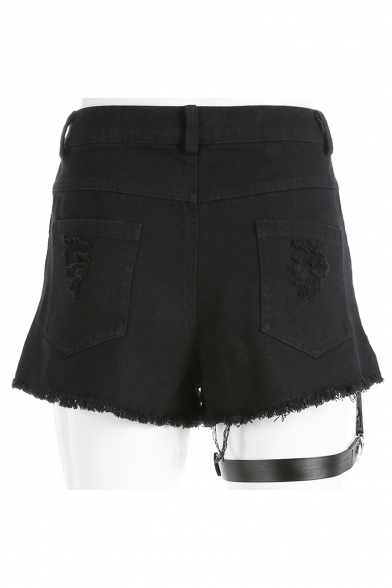 Hot Fashion Girls Punk Gothic Style Hollow Out Detachable Strap Harness Shorts Black Garter Shorts