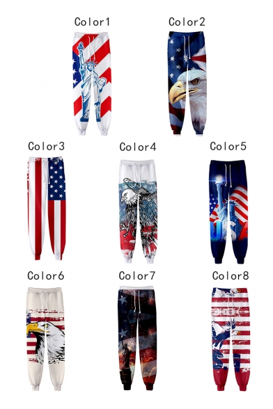 Independence Day Stylish Flag Printed Drawstring Waist Casual Joggers Sweatpants