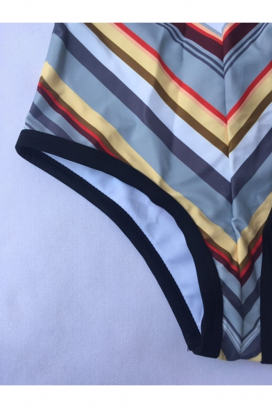 New Fashion Vintage Striped Print Sexy Plunged Neck Hollow Design One Piece Swimsuit