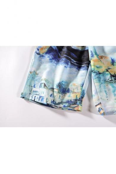New Trendy Graffiti Painting Drawstring Waist Light Blue Cotton Swim Shorts