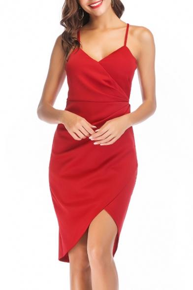 Sexy New Trendy Sleeveless Plunge Neck Plain Midi Asymmetric Hem Slip Dress For Women