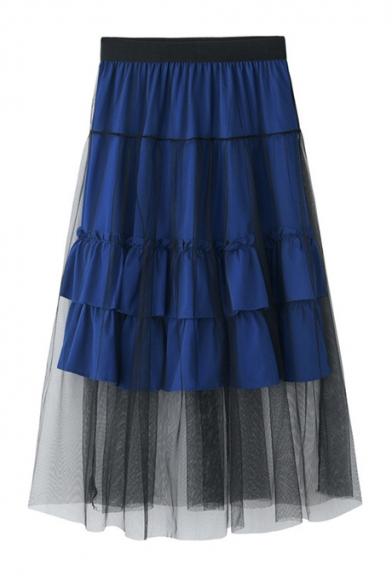 Summer Chic Layered Mesh Panel Elastic Waist Ruffled Midi A-Line Skirt