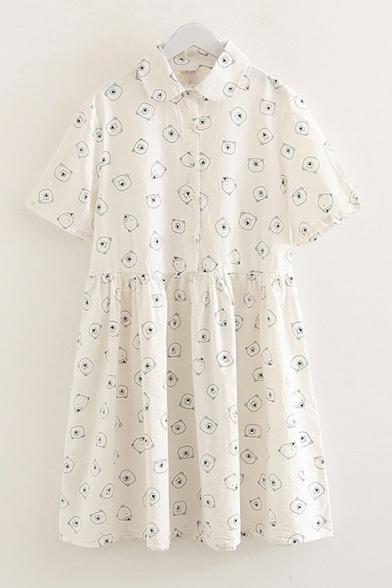 Summer Cute Cartoon Bear Printed Short Sleeve Linen White A-Line Shirt Dress
