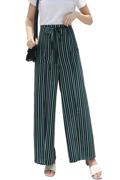 Summer Green Vertical Stripe Printed Tied Front Womens Casual Culotte Pants Wide Leg Pants