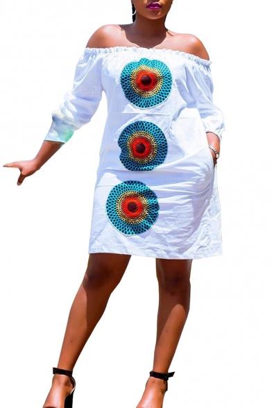 Summer Circle Print Off The Shoulder Long Sleeve Mini Dress for Women
