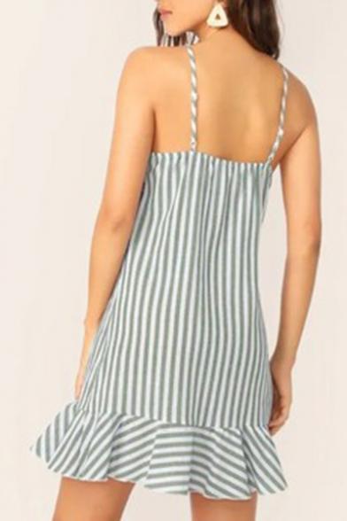 Summer Trendy Blue Striped Printed V-Neck Sleeveless Ruffled Hem Mini Slip Dress