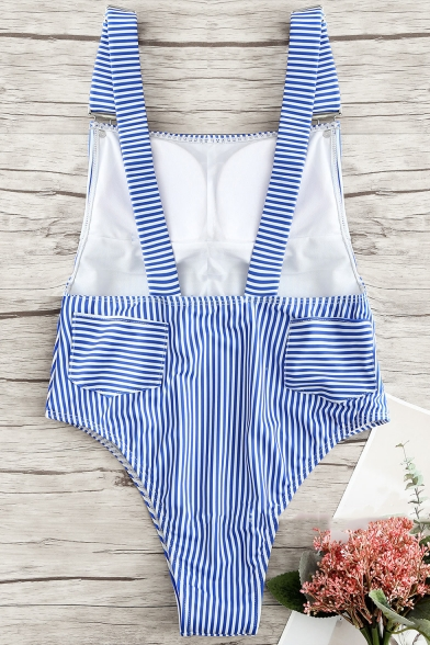 Trendy Vertical Striped Printed Backless High Leg Blue Overall One Piece Swimsuit for Women