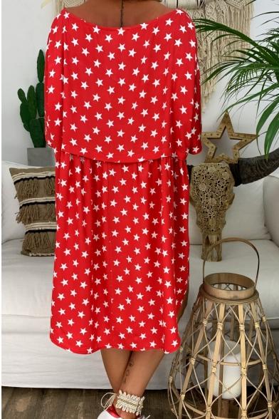 Women's Summer Fashion Stars Printed Round Neck Half Sleeve Mini Loose Casual Dress