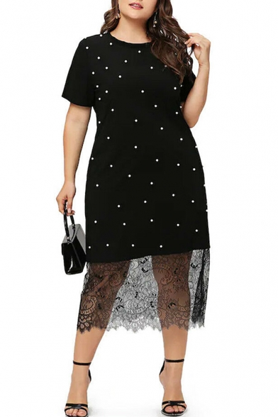Women's Unique Polka Dot Short Sleeve Round Neck Lace Patch Midi Black Dress