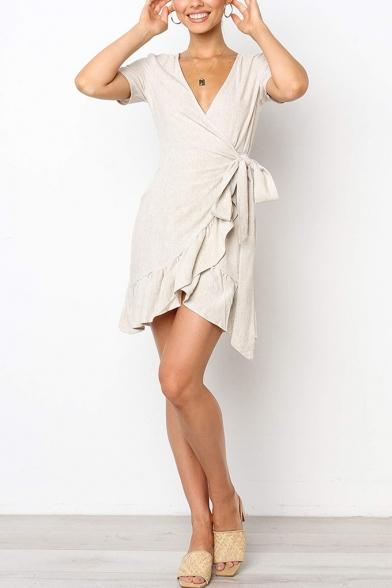 Womens Basic Simple Plain Surplice V-Neck Ruffled Hem Mini Wrap Dress