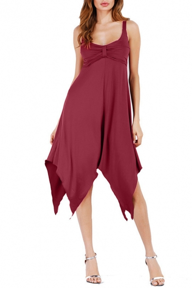 Womens Chic Simple Solid Color Sleeveless Handkerchief Hem Midi Strap Dress Prom Dress