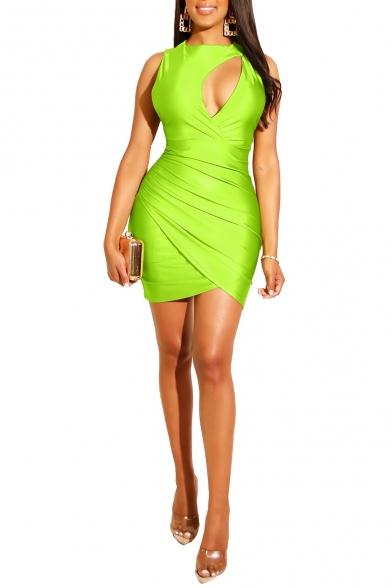Womens Hot Fashion Sexy Cut Out Round Neck Sleeveless Plain Print Mini Pencil Jersey Yellow Dress