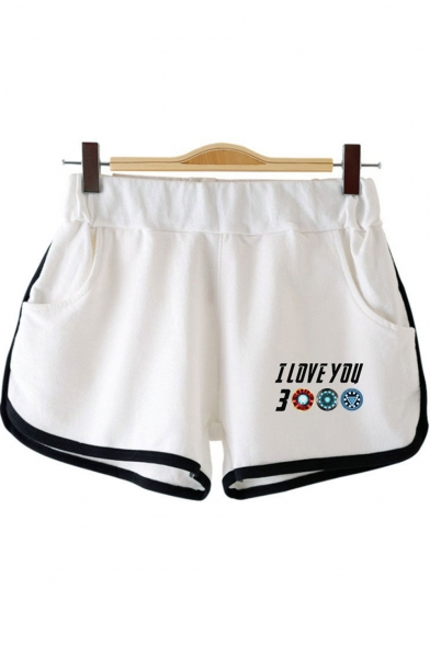 Womens New Chic Unique Letter I LOVE YOU 3000 Loose Relaxed Dolphin Shorts